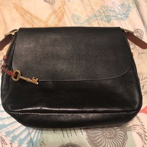 Fossil Black and Brown Large Flap Over Crossbody